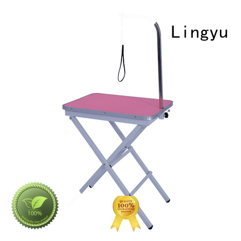 Lingyu pink hydraulic grooming table with led lightening for pet hospital