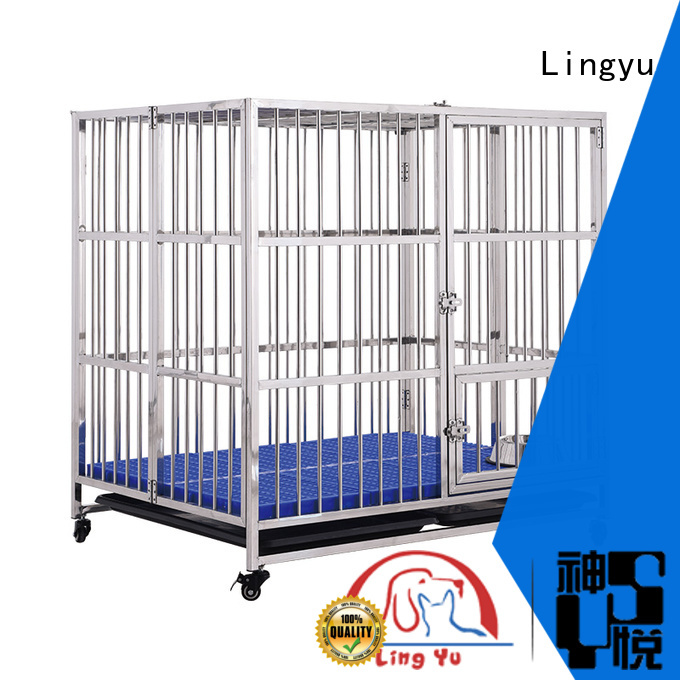 Lingyu veterinary pet cage with bottom plastic tray for home