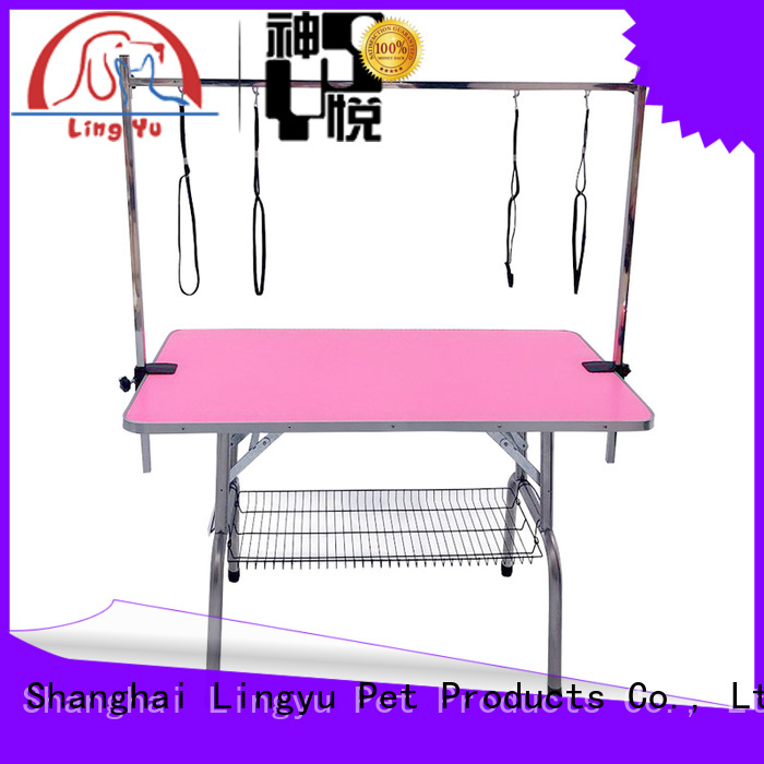 Lingyu fold hydraulic grooming table with led lightening for pet hospital