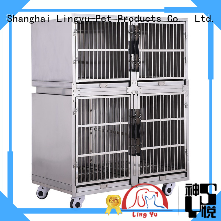 veterinary dog cage with movable tray for pet hospital