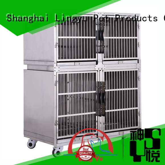 Lingyu two layer pet cage with movable tray for pets