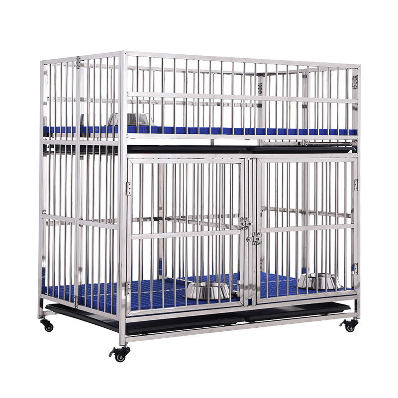 Child And Mother Two-layer Design Heavy Duty XXXL Stainless Steel Dog Crate MRC-123