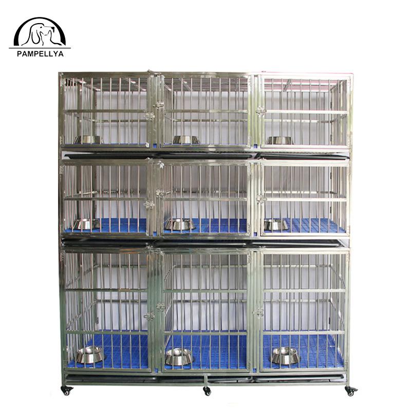 Various size 9 door stainlesssteel pet cage three layers.ZHC-184