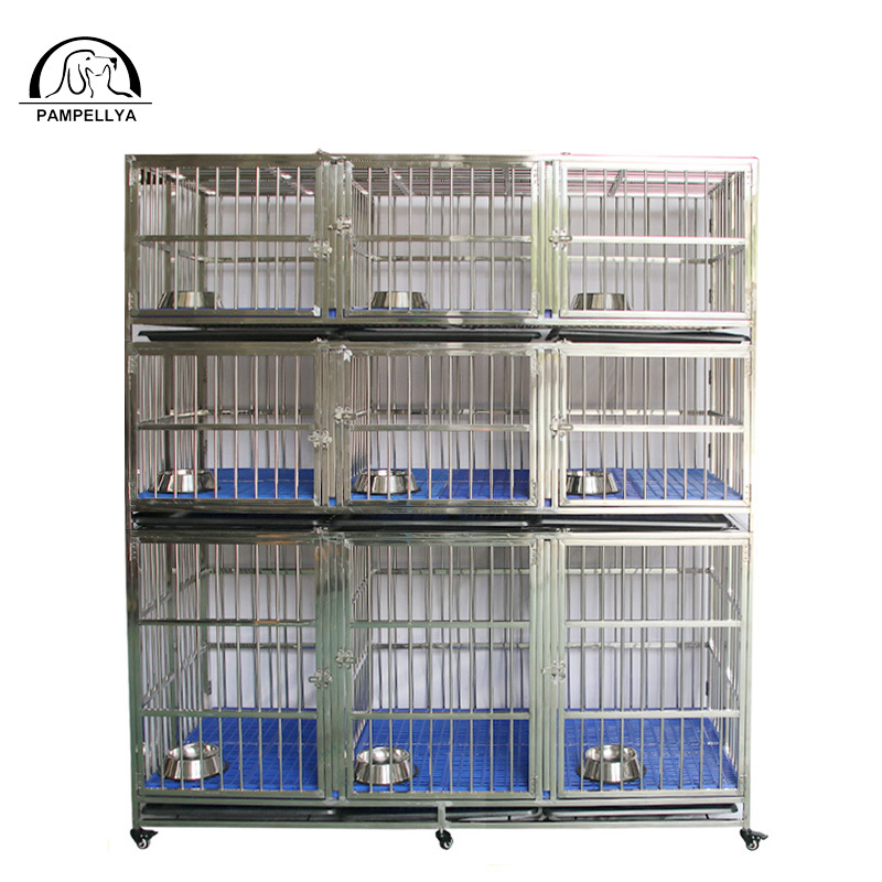 Various size 9 door stainlesssteel pet cage three layers.ZHC-184