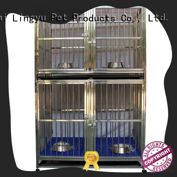 Lingyu two layer dog crate with bottom plastic tray for home